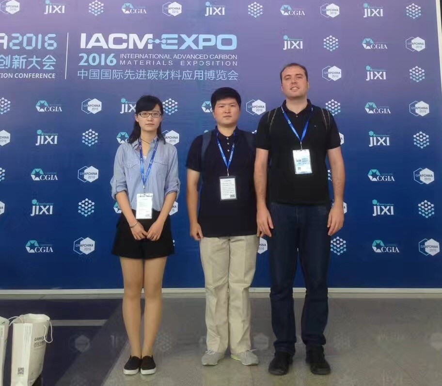 Image: Group members Mario Lanza (Right), Jing xu (middle) Bingru Wang (left) participate in the GRAPCHINA 2016